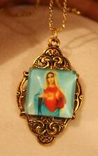 Lovely Festooned Blue Red Immaculate Heart of Mary Goldtone Pendant Necklace