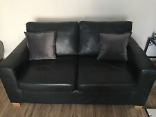 Black leather 2 seater Sofa Bed Setee