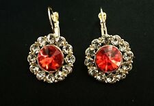 BEAUTIFUL COLOURED DIAMANTE CRYSTAL ROUND PAIR CLIP-ON EARRINGS WEDDING PARTY