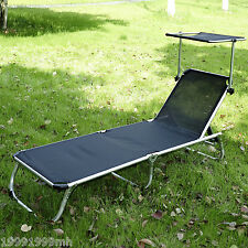 Outsunny Patio Lounge Chair Chaise Garden Bed Recliner Adjustable w/Canopy Black