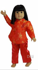 "ROSA CHINESE PANT OUTFIT - RED for American Girl 18"" Dolls Ivy Asian Brocade"