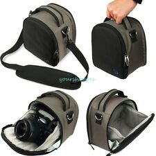 Steel Grey Nylon Messenger Shoulder Bag DSLR Camera Case For Nikon Canon Casio