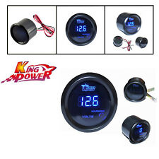 "Black Universal 2"" 52mm Blue Digital LED Electronic Volt Gauge Meter For Car"