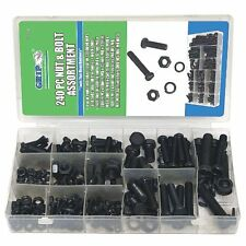240pc GRIP Metric Nuts & Bolts Assortment Kit Washers Hex Machine Automotive Set