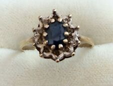 Lovely Ladies Vintage 9Ct Gold Sapphire & Diamond Cluster Ring