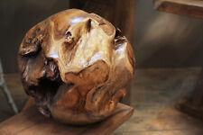 Sculpture Boule racine de teck Ø30 cm - objet deco exotique bois sheesham meuble