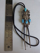 Old Pawn Native American Sterling Silver Turquoise Kachina BOLO Tie Signed G