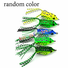 5PCS Large Frog Topwater Soft Fishing Lure Crankbait Hooks Bass Bait Tackle New