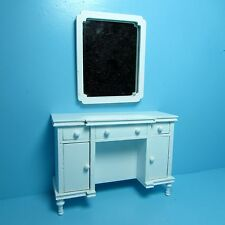 Dollhouse Miniature Unique Bedroom Dresser with Wall Mirror in White ~ T5483