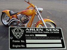 NEW! ARLEN NESS Data PLATE Frame Rolling Chassis Bobber HARLEY S&S EVOLUTION