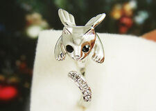 Angel Wing Kitty Cat Ring Swarovski Crystals Adjustable Free Size Gold Silver