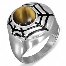 Stainless Steel 2-tone Spider Web Cocktail Ring w Tiger's Eye Stone Size 7  3d