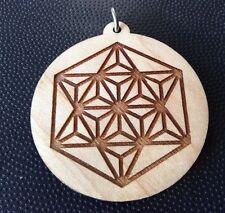 """Merkaba Star Light Body Travel 1.75"""" Pendant Necklace Maple Wood Spiritual Gift"""