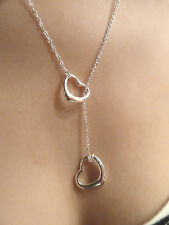 925 Sterling Silver (plated) fashion Necklace. Heart, Double hearts. NWT Pendant