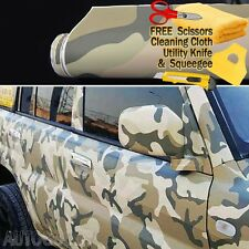 "120"" x 60"" Army Camo Camouflage Desert Vinyl Film Wrap Sticker Air Bubble Free"