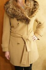 Vtg 50s ROSEWIN Beige Wool Coat Genuine Fur Collar USA - Womens S / M -EXCELLENT