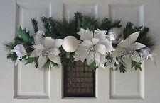 """36"""" White Christmas Poinsettias Swag"""