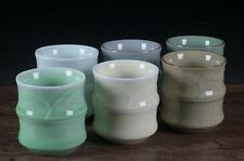 6pc China Longquan Celadon Kung Fu Tea Set Ceramic 6 Color Bamboo Teacup 120cc