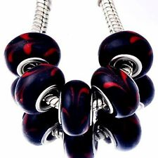 new 5Pcs Silver charms Red peacock tail MURANO GLASS lampwork european beads