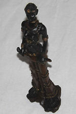 Black Resin Ebony Tribal African Lady Princess Queen Ceremonial Dress Figurine