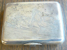 Russian Silver 84 Cigarette Case Carved Horses Troika Maker Andreev 1885-1898