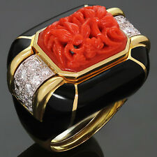Gorgeous! DAVID WEBB Diamond Coral Enamel 18k Yellow Gold Platinum Ring