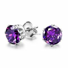 Round Cut 6mm Cubic Zirconia Charming Stainless Steel Stud Earrings Men's Ladies