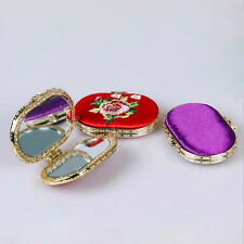 Chic Embroidered Pocket Cosmetic Mirror Makeup Mirror Double-Sided 1PC Random