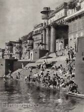 1928 Original INDIA Benares Riverfront Children Architecture Photo By HURLIMANN