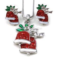 Xmas Christmas Jingle Bells Mistletoe Necklace Pendant Stud Earrings Jewelry Set