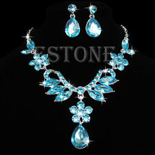Bride Wedding Party Crystal Rhinestone Drop Necklace Earring Pendant Jewelry Set