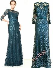 Tadashi Shoji Starry Night 3/4 Sleeve Belted Sequin Lace Formal Gown Size14 $499