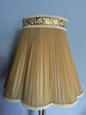 "VINTAGE MUSTARD GOLD CHIFFON PLEATED MED LAMP SHADE 11 1/2"" TALL"