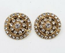 VINTAGE CHANEL FRANCE GOLD METAL AND RHINESTONE CLIP STYLE EARRINGS