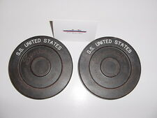 SS UNITED STATES LINES  Pair of Shuffleboard Pucks /  Promonade Deck Locker