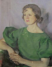 Antique Pearl Marsh 1920s 30s Vintage Oil Portrait Woman Painting Lady in Green