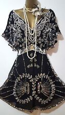 Miss Selfridge anni'20 Charleston Flapper Deco Downton Perline/Paillettes Vestito SZ 8