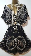 MISS SELFRIDGE 20'S CHARLESTON DOWNTON FLAPPER DECO BEAD/SEQUIN DRESS SZ 8