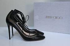 New sz 8 / 38 Jimmy Choo Tyler Black Leather Ankle Lace up Round Toe Pump Shoes