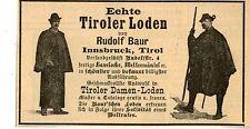 Rudolf Bauer Insbruck ECHTE TIROLER LODEN  Historische Reklame von 1895