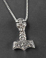 Men's Thors Hammer Celtic Viking Mjolnir Norse Pendant Box Chain Necklace