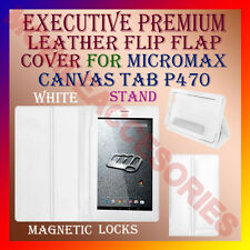 ACM-EXECUTIVE LEATHER FLIP FLAP CASE for MICROMAX CANVAS TAB P470 COVER-WHITE