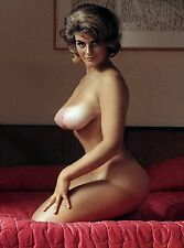 60s Nude Pinup kneeling in bed Double D breasts that project 8 x 10 Photograph