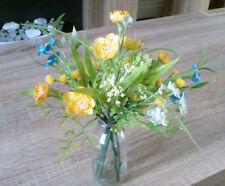 Artificial Summer Yellow Buttercup and Blue Flowers with Vase