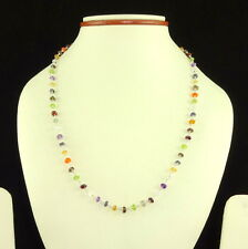 925 SOLIDSTERLING SILVER NECKLACE NATURAL MULTI AMETHYST,PERIDOT,ETC GEMSTONE 8g