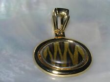 Estate Large Goldtone Oval with Striped Brown & Black Animal Print Plastic Cab