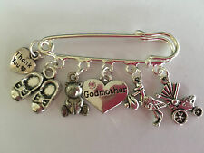 VINTAGE SILVER TONE GODMOTHER KILT PIN BROOCH MOMENTO PRESENT THANK YOU GIFT