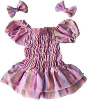 Teddy Bear Clothes fit Build a Bear Teddies Ra-Ra Dress & 2 Bows Bears Clothing