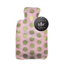 Gorgeous Rose Pink & Gold Spotted Knitted Cover Designer 2Litre Hot Water Bottle
