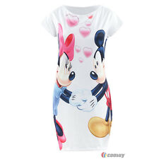 Womens Minnie Mouse Print Mini Dress Casual Bodycon Summer Party Ladies Dresses